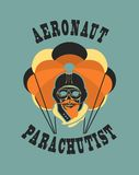 Skull parachutist badge. Vector illustration in retro style skull dead parachutist in helmet pilot parachute should be  head Stock Images