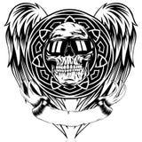 Skull_on_pattern 皇族释放例证
