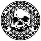 Skull_on_pattern 免版税库存照片