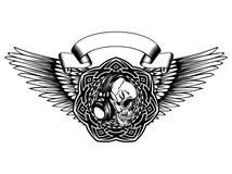 Skull_on_pattern 图库摄影