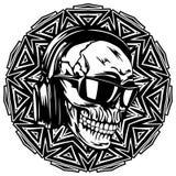Skull_on_pattern Stock Photos
