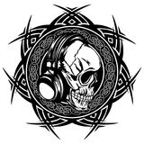 Skull_on_pattern Royalty Free Stock Photography