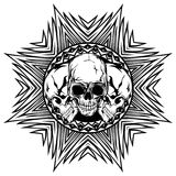 Skull_on_pattern Stock Photo