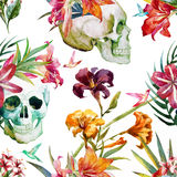 Skull pattern. Beautiful vector pattern with nice watercolor skull and flowers Royalty Free Stock Photography
