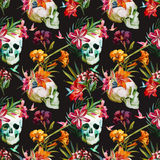 Skull pattern. Beautiful vector pattern with nice watercolor skull and flowers Royalty Free Stock Photo