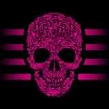 Skull pattern. Floral pattern of form pink skull. Pink stripes. Emo stock image