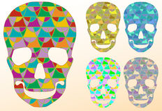 Skull with patterns. A set of colored skulls with ornaments in the style of sugar loaf Stock Images