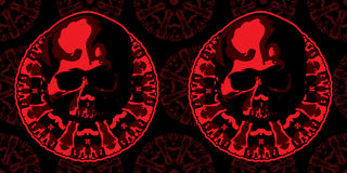 Skull and pentagram in red color. Vector image. Skull and pentagram in red color. Vector Royalty Free Stock Photos