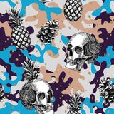 Skull pineapple cone military background Vector Illustration