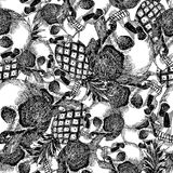 Skull pineapple in pencil seamless Royalty Free Stock Photo