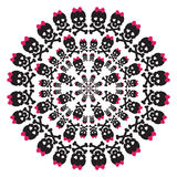 Skull with a pink bow on white background. Circular pattern Royalty Free Stock Image