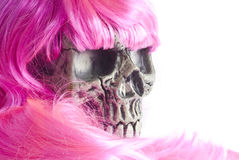 Skull and Pink Hair Royalty Free Stock Photo