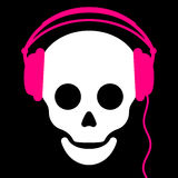 Skull with pink headphones Royalty Free Stock Images