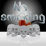 Skull and pipe smoking Stock Images