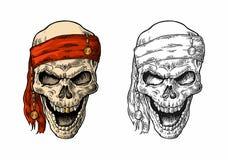 Skull pirate in bandana smiling. Black vintage engraving Royalty Free Stock Photos