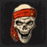 Skull pirate in bandana smiling. Black vintage engraving vector Royalty Free Stock Photo