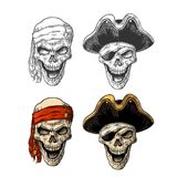 Skull in pirate with clothes eye patch, captainhat, bandana. Vintage engraving vector illustration