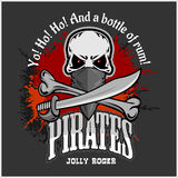 Skull in pirate hat - Jolly Roger Stock Photography
