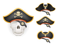 Skull with pirate hats set realistic head isolated template mockup vector illustration Royalty Free Stock Photos