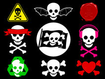Skull pirate icon collection. Cartoon royalty free illustration