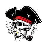 The Skull of a Pirate. Illustration of a pirate skull in a hat with a smoking pipe Royalty Free Stock Image