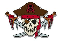 Skull pirate. Jolly Roger. The skull dressed in a bandana and a pirate bandage in one eye stock illustration