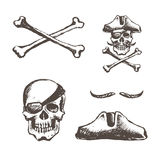 The skull of a pirate is one-eyed Stock Image