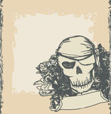 Skull Pirate - retro card Royalty Free Stock Image