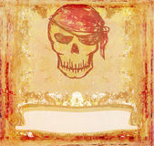 Skull Pirate - retro grunge card Royalty Free Stock Images