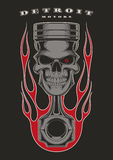 Skull piston biker emblem. Skull piston with classic american flames on black background Stock Photography