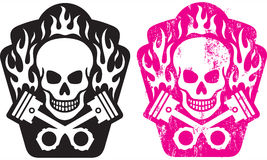 Skull and Pistons. Vector illustration of skull and crossed pistons with flames. Includes clean and grunge versions. Easy to edit colors and shapes Royalty Free Stock Image