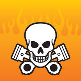 Skull and Pistons with flame background Royalty Free Stock Photo