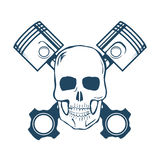Skull and Pistons. t-shirt graphic. Vector Royalty Free Stock Photos