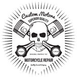 Skull and Pistons. t-shirt graphic. Vector Stock Photography
