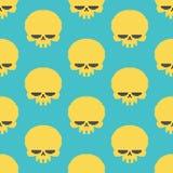 Skull pixel art seamless pattern. head of skeleton pixelated bac Royalty Free Stock Images