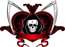 Skull and plaits. Vector image of  human skull and plaits Royalty Free Stock Photos