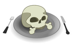 Skull plate. Deadly meal. Skull on steel plate. Fork and knife Stock Photography