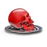Skull platter red Royalty Free Stock Images