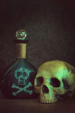 Skull with poison bottle Royalty Free Stock Photography