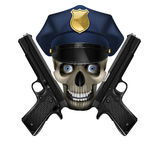 Skull in a police cap and pistol Royalty Free Stock Photos
