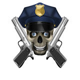 Skull in a police cap and silver pistol Royalty Free Stock Images