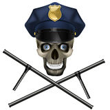 Skull in a police cap Stock Photos