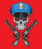 Skull police illustration isolated, for tattoo or t-shirt. Easy to modify Stock Photo
