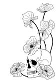 Skull and poppies Stock Illustration