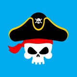 Skull Pirate portrait in hat. Eye patch. filibuster cap. skelet Royalty Free Stock Images