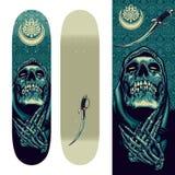 Skull Praying Design On Skateboard Template Royalty Free Stock Photos