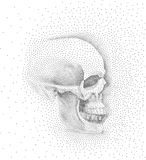 Skull in profile on white background.. Simple black points on white background. Digital pointillism.Dots set in shape of skull Royalty Free Stock Photos