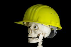 Skull in protective helmet Stock Photos