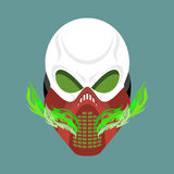 Skull protective mask. Hell defender. Terrible headache. skeleto Royalty Free Stock Photography
