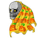 Skull with Pumpkin fabric Royalty Free Stock Photos